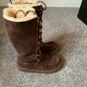 Ugg Uptown lace up suede tall boots